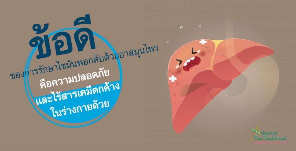 ข้อดีของการรักษาไขมันพอกตับด้วยยาสมุนไพร คือ ความปลอดภัย และ ไร้สารเคมี ตกค้างในร่างกายด้วย