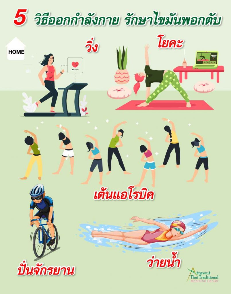 5 วิธีออกกำลังกาย รักษาไขมันพอกตับ วิ่งลดไขมันพอกตับ โยคะ เต้นแอโรบิค   ปั่นจักรยาน ว่ายน้ำ