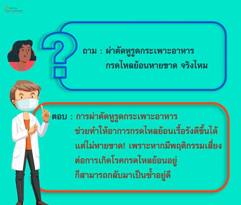 ถาม : ผ่าตัดหูรูดกระเพาะอาหาร กรดไหลย้อนหายขาด จริงไหม ตอบ : การผ่าตัดหูรูดกระเพาะอาหาร ช่วยทำให้อาการกรดไหลย้อนเรื้อรังดีขึ้นได้ แต่ไม่หายขาด! เพราะหากมีพฤติกรรมเสี่ยง ต่อการเกิดโรคกรดไหลย้อนอยู่ ก็สามารถกลับมาเป็นซ้ำอยู่ดี