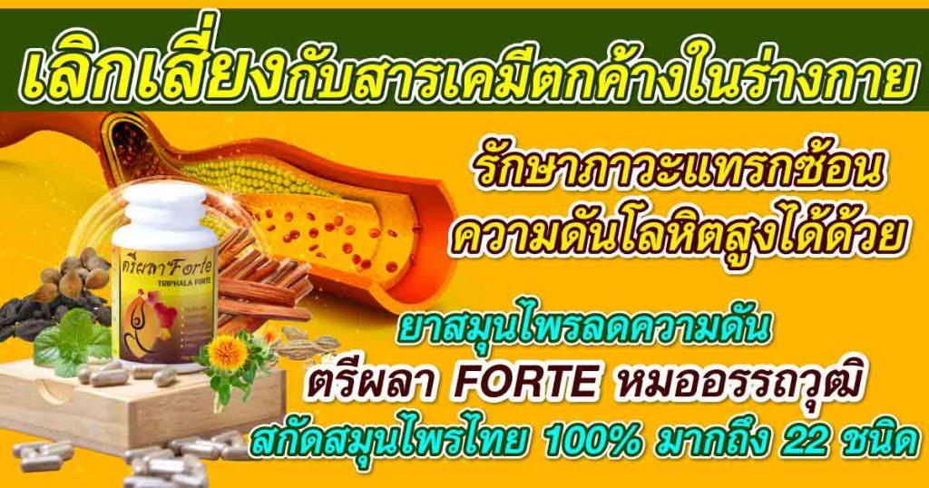 เลิกเสี่ยงกับสารเคมีตกค้างในร่างกาย รักษาภาวะแทรกซ้อน ความดันโลหิตสูงได้ด้วยยาสมุนไพรลดความดัน ตรีผลา FORTE หมออรรถวุฒิ สกัดสมุนไพรไทย 100% มากถึง 22 ชนิด
