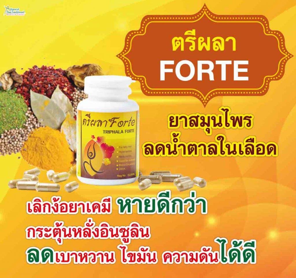 ตรีผลา FORTE ยาสมุนไพรลดน้ำตาลในเลือด เลิกง้อยาเคมี หายดีกว่า กระตุ้นหลั่งอินซูลิน ลดเบาหวาน ไขมัน ความดันได้ดี